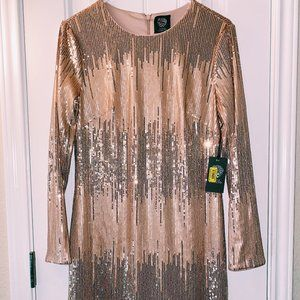 Vince Camuto party dress rose gold